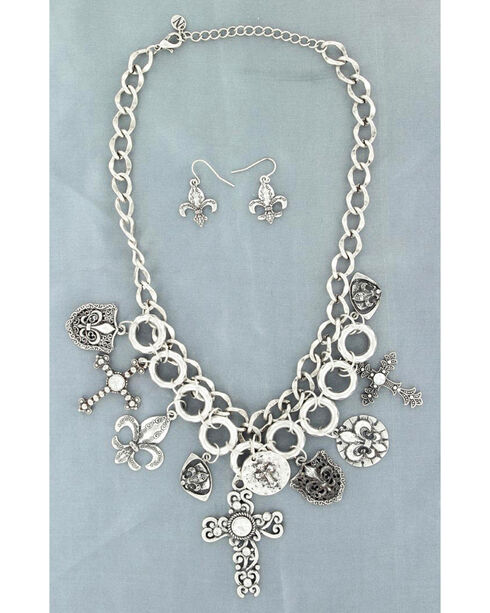 Blazin Roxx Cross and Fleur De Lis Charm Necklace & Earrings Set, Silver, hi-res
