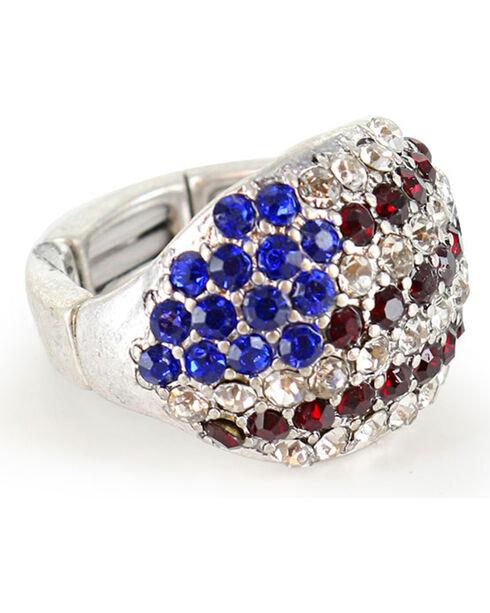 Shyanne® Women's Rhinestone Flag Ring, Silver, hi-res
