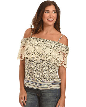 Ces Femme Women's Crochet Pattern Tank , Cream, hi-res