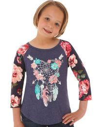 Wrangler Girls' Boho Feather Long Sleeve Shirt, , hi-res