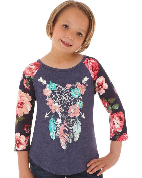 Wrangler Girls' Boho Feather Long Sleeve Shirt, Multi, hi-res