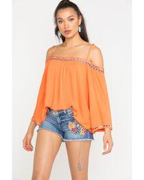 Miss Me Women's Orange Off Shoulder Embroidered Top , , hi-res