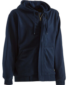 Berne Navy Flame Resistant Hooded Sweatshirt, Navy, hi-res