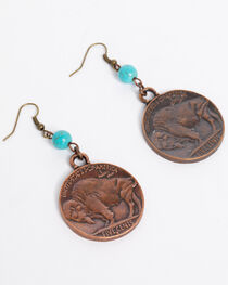 Jewelry Junkie Women's Indian Head Earrings with Turquoise Accents , , hi-res