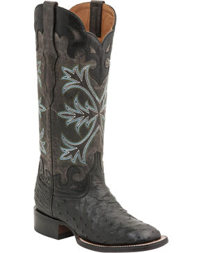 Lucchese Women's Rowena Exotic Ostrich Western Boots, Black, hi-res