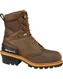 "Carhartt 8"" Crazy Horse Brown Waterproof Insulated Logger Boot - Safety Toe, , hi-res"