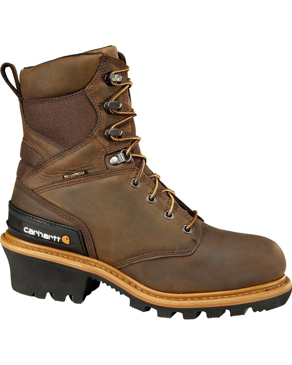 "Carhartt 8"" Brown Waterproof Insulated Logger Boots, Crazyhorse, hi-res"
