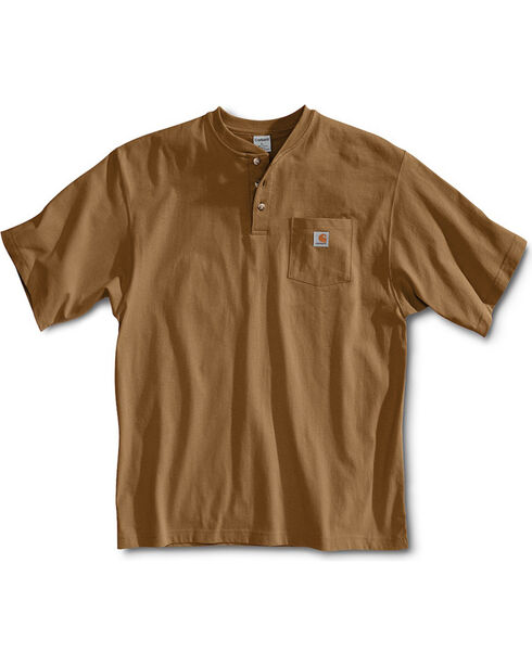 Carhartt Short Sleeve Henley Work Shirt, Brown, hi-res