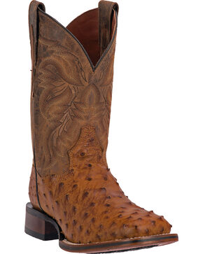 Dan Post Alamosa Men's Alamosal Ostrich Exotic Western Boots, Saddle Tan, hi-res