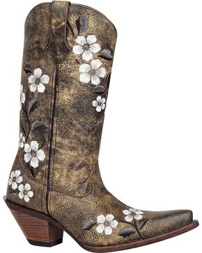 Durango Women's Floral Bouquet Western Boots, Tan, hi-res
