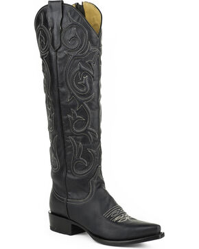 Stetson Women's Blair Snip Toe Western Boots, Black, hi-res