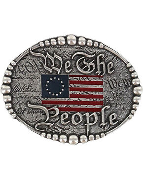 "Cody James® Men's ""We The People"" Buckle , Silver, hi-res"