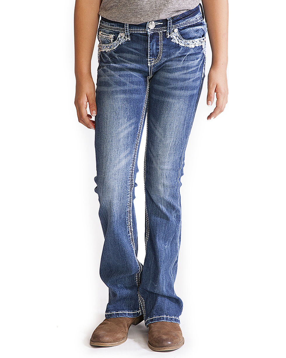 Grace in LA Girls' Faux Flap Pocket Jeans - Boot Cut , Indigo, hi-res
