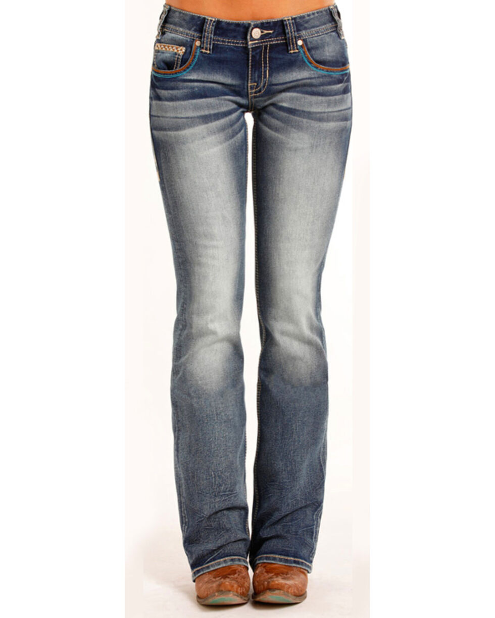 Rock & Roll Cowgirl Women's Low Rise Aztec Embellished Jeans - Boot Cut , Blue, hi-res
