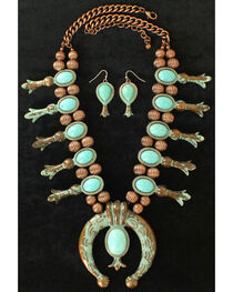 Blazin Roxx Women's Squash Blossom Turquoise Jewelry Set , , hi-res