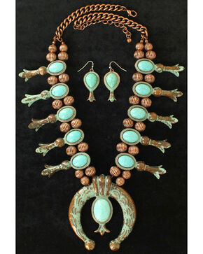 Blazin Roxx Women's Squash Blossom Turquoise Jewelry Set , Rust Copper, hi-res
