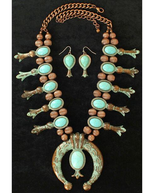 Blazin Roxx Women's Squash Blossom Turquoise Jewelry Set , Rust Copper, hi-res