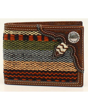 Nocona Fabric and Rawhide Knot Bi-Fold Wallet, Multi, hi-res
