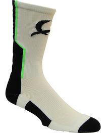 Cinch Men's White Mesh Crew Socks , , hi-res