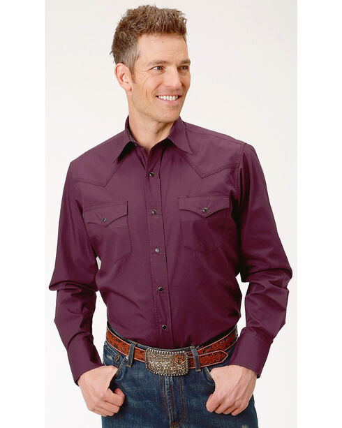 Roper Men's Performance Long Sleeve Solid Snap Shirt - Big, Burgundy, hi-res