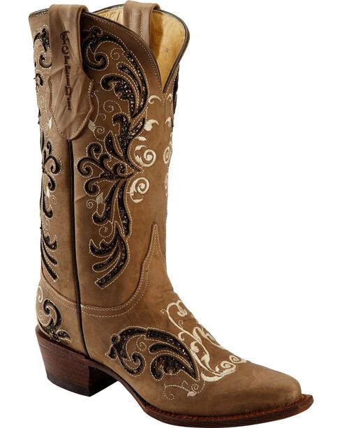 Ferrini Women's Laser Glimmer Western Boots, Brown, hi-res