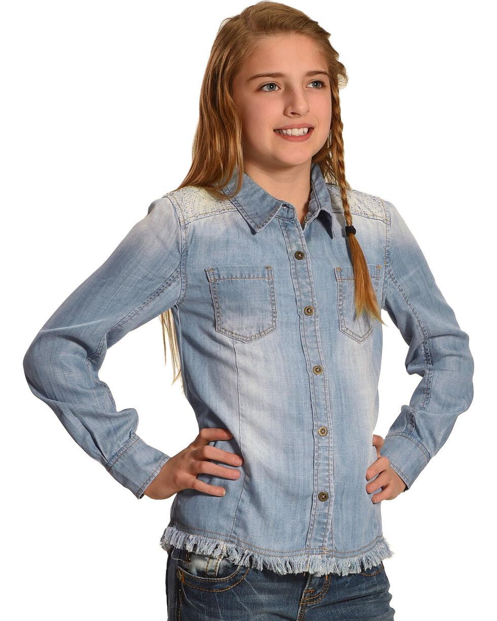 Miss Me Girls' Denim Blues Button-Up Top, Indigo, hi-res