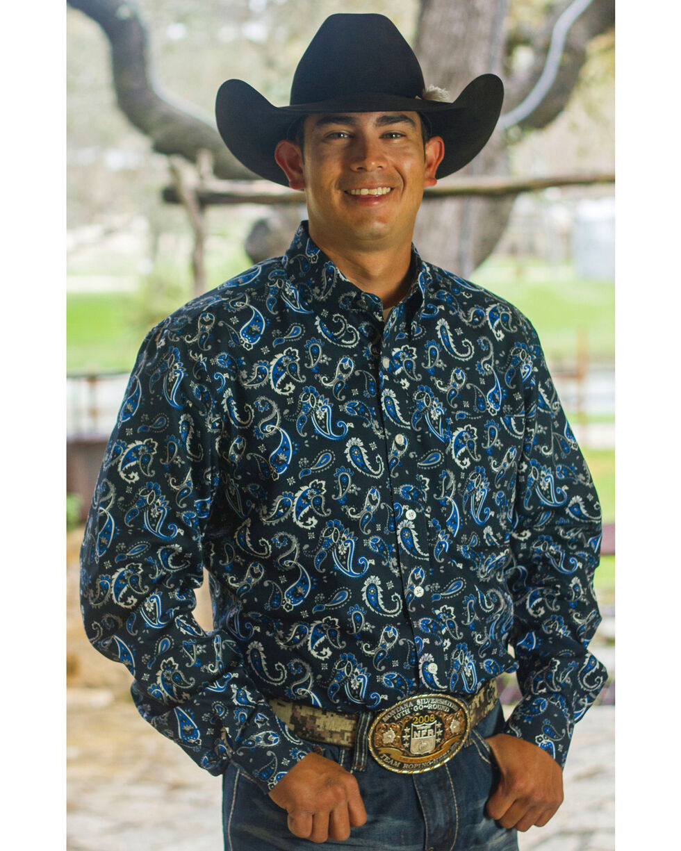 Cinch Men's Navy Paisley Print One Pocket Shirt , Navy, hi-res