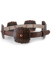 Angel Ranch Women's Concho Leather Belt, , hi-res