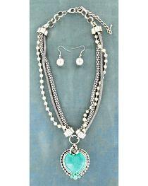 Blazin Roxx Faux Turquoise Stone Heart Pendant Necklace & Earrings Set, , hi-res