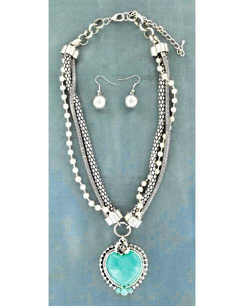Blazin Roxx Faux Turquoise Stone Heart Pendant Necklace & Earrings Set, Silver, hi-res