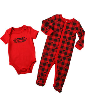 Cody James® Infants' Lil Buckaroo Onesie Set, Red, hi-res