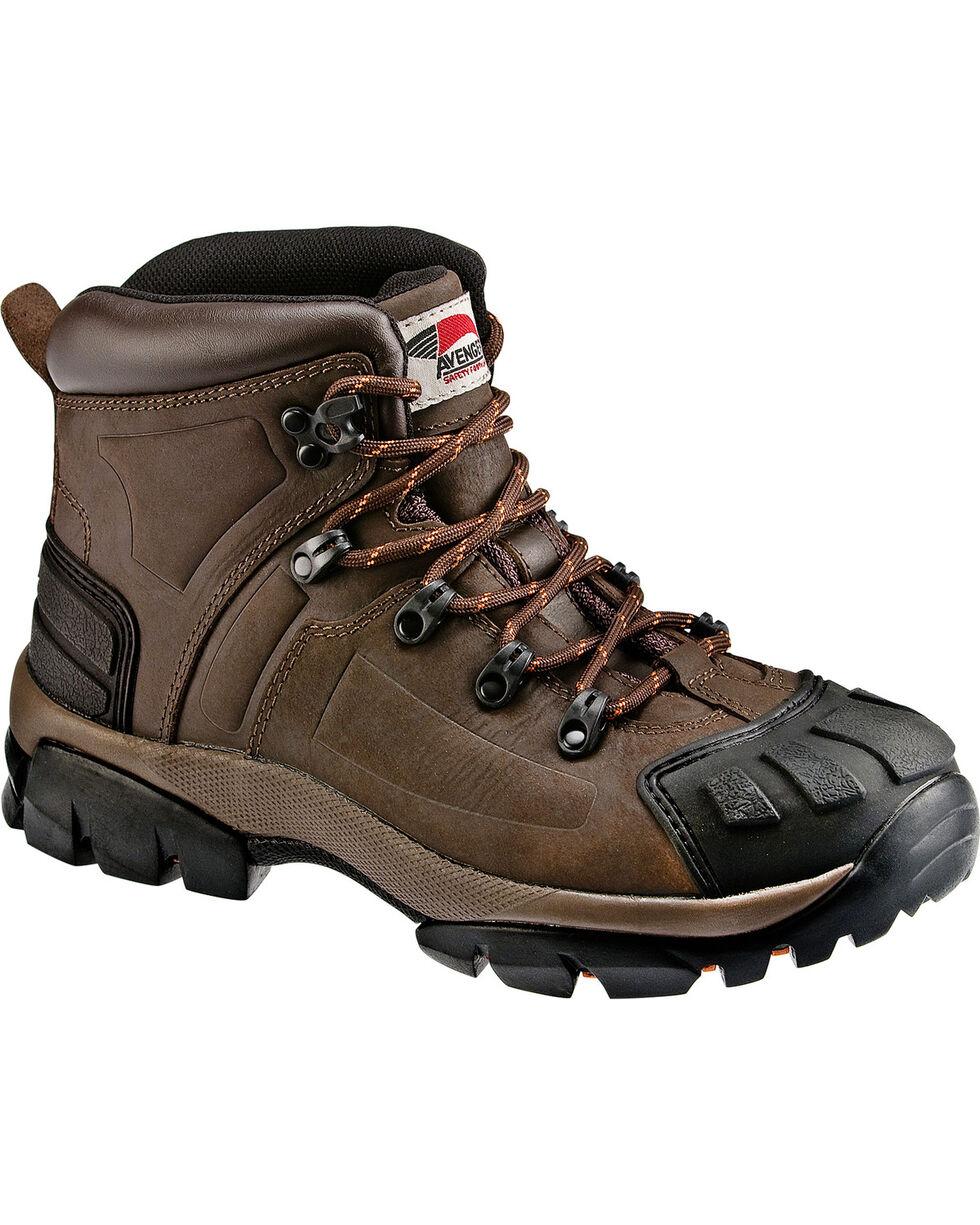 Avenger Men's Brown Crazy Horse Leather Work Boots - Steel Toe, Brown, hi-res