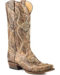 Roper Women's Pure Cross & Studs Cowgirl Boots - Snip Toe, , hi-res