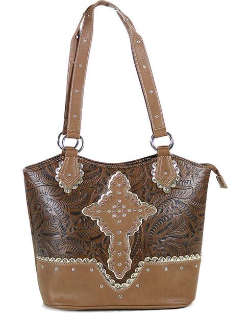 Trenditions Women's Coral Ridge Eleanor Satchel Crystal Cross Handbag, Brown, hi-res