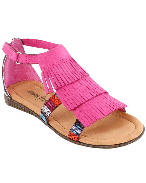 Minnetonka Girls' Maya Sandals, Hot Pink, hi-res