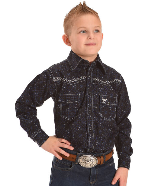Cowboy Hardware Boys' Scroll Print Embroidered Long Sleeve Snap Shirt, Black, hi-res