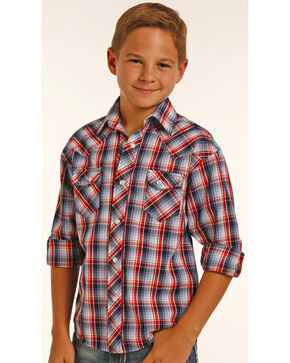 Rock & Roll Cowboy Boys' Red Long Sleeve Plaid Shirt , Red, hi-res
