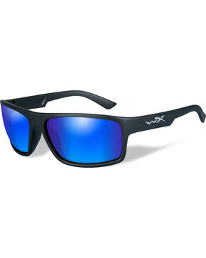 Wiley X Peak Polarized Blue Mirror Black Matte Sunglasses , Black, hi-res