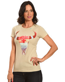 Bohemian Cowgirl Women's Short Sleeve Rainbow Skull Tee, , hi-res