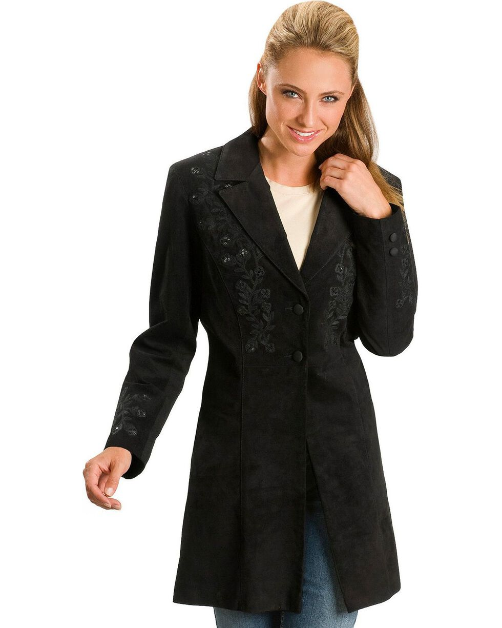Scully Women's Embroidered Coat, Black, hi-res