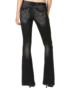 Miss Me Women's Too Bad Flare Jeans, Black, hi-res