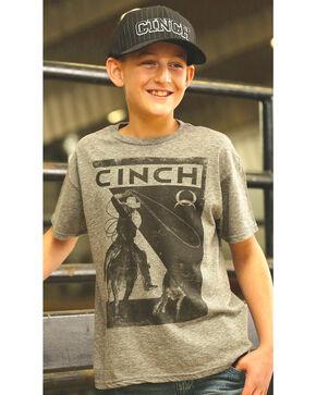 Cinch Boys' Graphic Print Crew Neck Short Sleeve T-Shirt, Hthr Grey, hi-res