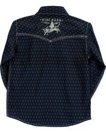 Cowboy Hardware Boys' Ride Hard Diamond Print Long Sleeve Shirt, , hi-res