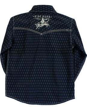 Cowboy Hardware Boys' Ride Hard Diamond Print Long Sleeve Shirt, Blue, hi-res