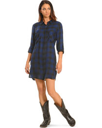 New Direction Women's Blue Plaid Shirt Dress , , hi-res