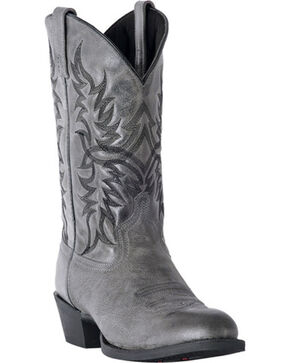 Laredo Men's Harding Grey Waxy Leather Cowboy Boots - Round Toe, Grey, hi-res