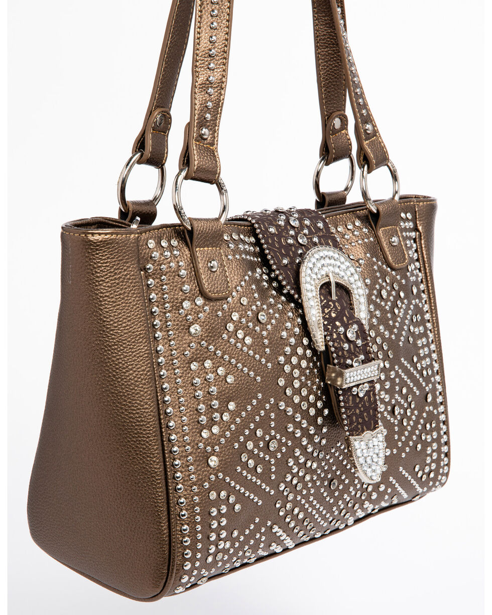 Shyanne Women's Metallic Bling Buckle Tote, , hi-res