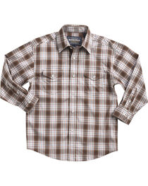 Rough Stock by Panhandle Boys' Ombre Plaid Long Sleeve Snap Shirt, , hi-res