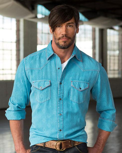 Ryan Michael Men's Lagoon Aztec Silk Western Shirt , Light Blue, hi-res