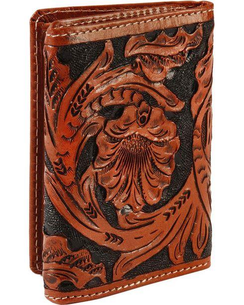 Roper Men's Floral Tooled Tri-Fold Wallet, , hi-res